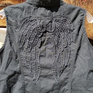 Rare Harley-Davidson black feather wing back tank